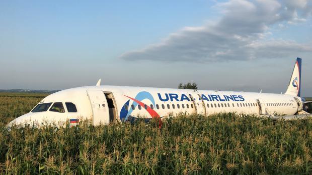 Airbus A321 Ural Airlines po střetu s ptáky přistál do pole u Moskvy