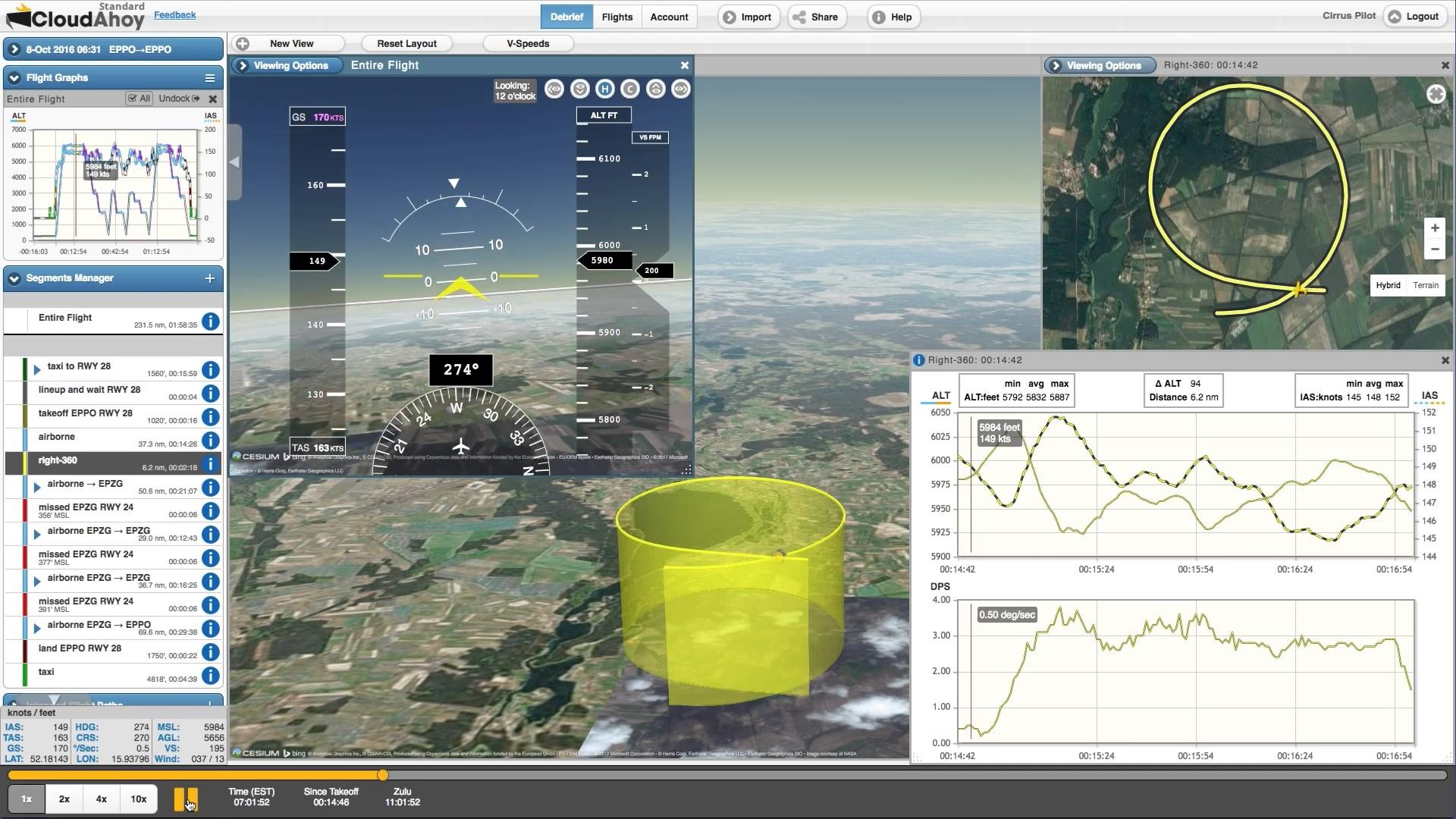 Aplikace CloudAhoy Pro usnadní zpětné hodnocení VFR i IFR letu